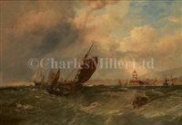 Lot 9 - EDWIN HAYES (BRITISH, 1820-1904)<br/>Fishing Boats...
