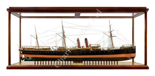 Lot 260 - A FINE AND HIGHLY ORIGINAL 1:48 SCALE BUILDER'S MODEL FOR THE LINER S.S. MEXICO, BUILT FOR THE CIA. MEXICANA TRASATLÂNTICA BY ROBERT NAPIER & SONS, GOVAN, 1884