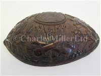 Lot 72 - A FINELY CARVED SAILOR WORK HALF COCONUT SHELL, CIRCA 1800