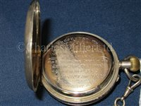 Lot 123 - A PAIR OF PRESENTATION LIFESAVING BINOCULARS AND POCKET WATCH, CIRCA 1896