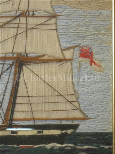 Lot 75-A 19TH CENTURY SAILOR'S WOOLWORK PICTURE