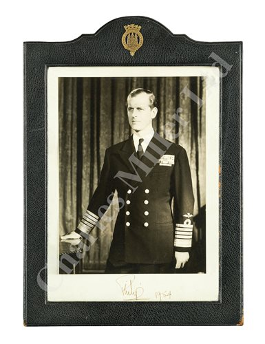 Lot 57-A PRESENTATION AUTOGRAPHED PHOTOGRAPH OF PRINCE PHILIP, 1954