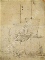 Lot 14-FOLLOWER OF WILLIAM VAN DE VELDE (DUTCH, 17TH CENTURY); study of a warship