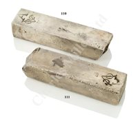 Lot 111 - † A DUTCH EAST INDIA COMPANY (V.O.C.) SILVER INGOT SALVAGED FROM THE 'ROOSWIJK' CARGO, CIRCA 1739
