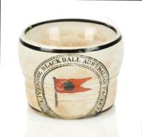Lot 133 - A RARE STONEWARE EGG CUP FOR THE LIVERPOOL-AUSTRALIA BLACK BALL LINE, CIRCA 1860