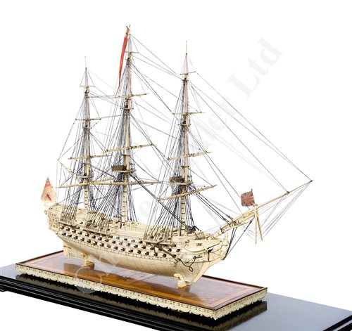 261 - A LARGE, FINELY CARVED AND WELL PRESENTED EARLY 19TH CENTURY NAPOLEONIC FRENCH PRISONER OF WAR BONE SHIP MODEL FOR A FIRST RATE SHIP OF THE LINE TRADITIONALLY IDENTIFIED AS H.M.S. CALEDONIA