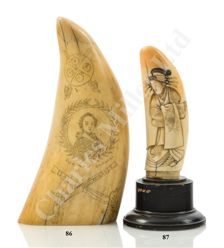 Lot 87 - Ø A LATE 19TH CENTURY CARVED AND SCRIMSHAWED WHALE'S TOOTH