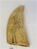 Lot 86-Ø A 19TH CENTURY SCOTTISH PATRIOTIC SCRIMSHAW DECORATED WHALE'S TOOTH