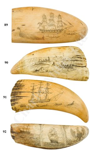 Lot 92-Ø A 19TH CENTURY SCRIMSHAW DECORATED WHALE'S TOOTH
