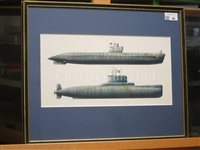 Lot 46-A COLLECTION OF 20TH CENTURY WATERCOLOUR SUBMARINE PROFILES