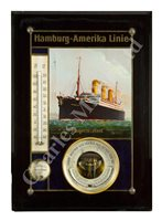 Lot 130 - A RARE HAMBURG-AMERIKA LINE TRAVEL AGENTS ADVERTISING BAROMETER / THERMOMETER / HYGROMETER FOR THE S.S. 'IMPERATOR', CIRCA 1912