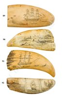 Lot 89-Ø A MID-19TH CENTURY SAILORWORK SCRIMSHAW DECORATED WHALE'S TOOTH