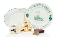 Lot 149 - Ø A PLATE COMMEMORATING THE LAUNCH OF METEOR, 1902, and other items