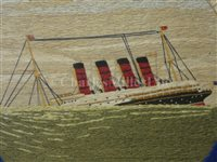 Lot 125 - AN UNUSUAL SET OF THREE WOOLWORKS DEPICTING THE SINKING OF THE LUSITANIA
