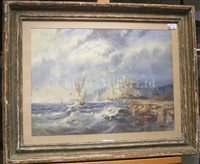 Lot 10 - FOLLOWER OF THOMAS HART (BRITISH, 1830-1916) - Shipping off Whitby Abbey