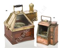 Lot 41-A COPPER AND BRASS BOAT BINNACLE COMPASS BY DENT, CIRCA 1840