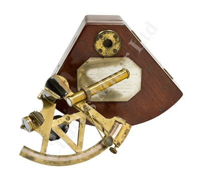 Lot 197 - A FINE 4IN. RADIUS SURVEYING SEXTANT BY TROUGHTON & SIMMS, PRESENTED TO GENTLEMAN CADET WILLIAM E. WARRAND BY THE EAST INDIA COMPANY, JUNE 1849