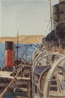 Lot 11 - δ NORMAN WILKINSON (BRITISH, 1878-1971) - R.M.S. 'Mauretania' Rafted Up To A Transport, Off The Coast Of Gallipoli, 1915