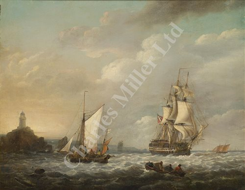 Lot 18-THOMAS LUNY (ENGLISH, 1759–1837) - 74-gun ship in company with a Truro fishing smack, off the Longships Lighthouse and Land's End, Cornwall