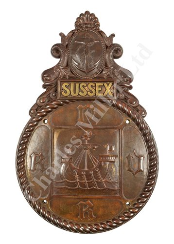 Lot 56-A FINELY CAST BRONZE BADGE FOR H.M.S. SUSSEX R.N.V.R.