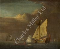 Lot 15 - ATTRIBUTED TO PETER MONAMY (ENGLISH, 1681-1749) - An Admiralty yacht saluting the departure of a visiting captain, with warships becalmed beyond