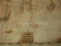 Lot 20-ATTRIBUTED OF NICHOLAS POCOCK (ENGLISH, 1740-1821) - Glorious First of June, H.M.S. 'Queen Charlotte' forcing the French line
