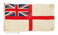 Lot 47 - ADMIRAL SIR HENRY BERTRAM PELLY'S WHITE NAVAL ENSIGN, BELIEVED TO HAVE BEEN FLOWN ABOARD H.M.S. TIGER DURING THE BATTLE OF JUTLAND, 31 MAY-1st JUNE, 1916