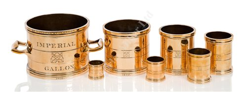Lot 35-A RARE SET OF STANDARD MEASURES FOR THE ADMIRALTY VICTUALLING BOARD, BY Rd. VANDOME & CO., LONDON, 1826