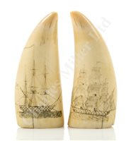 Lot 85-Ø AN ATTRACTIVE PAIR OF SAILOR'S SCRIMSHAW DECORATED WHALE'S TEETH, CIRCA 1840