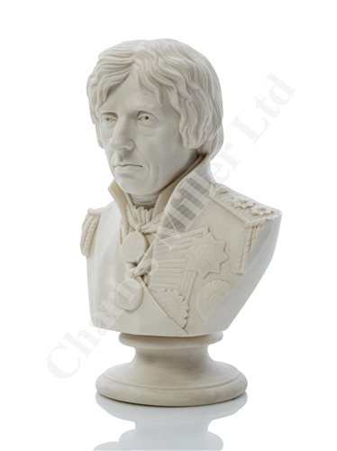 Lot 22-A PARIANWARE BUST OF LORD NELSON BY JOSEPH PITTS, LONDON 1853; and a drawing of two-decker