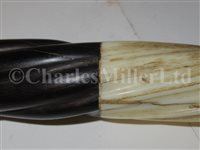 Lot 77-Ø A 19TH CENTURY SAILORWORK NARWHAL, EBONY AND MARINE IVORY WALKING STICK