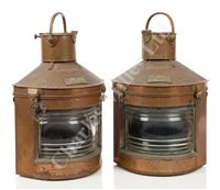 Lot 156 - A PAIR OF EARLY 20TH CENTURY COPPER AND BRASS PORT AND STARBOARD LANTERNS