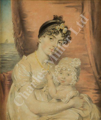 Lot 21-JOHN DOWNMAN (WELSH, 1750-1824) Mrs King and daughter