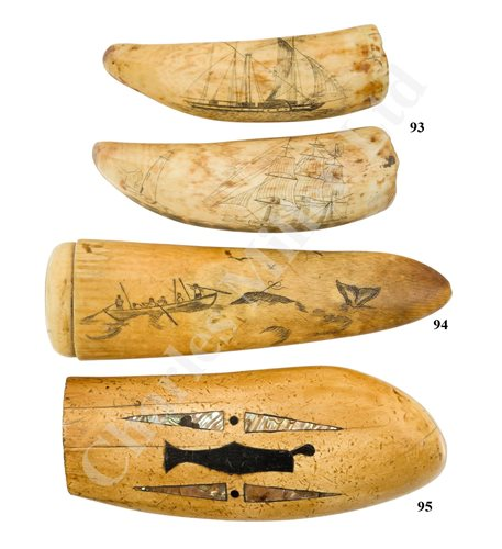 Lot 93 - Ø TWO SAILOR'S SCRIMSHAW DECORATED WHALE'S TEETH, FIRST-HALF 19TH CENTURY