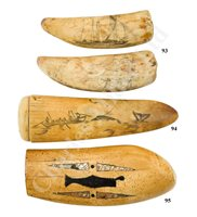 Lot 93-Ø TWO SAILOR'S SCRIMSHAW DECORATED WHALE'S TEETH, FIRST-HALF 19TH CENTURY