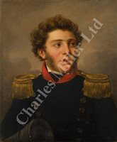 Lot 25-HILLEBRAND DIRK LOEFF (DUTCH, 1774-1845): Portrait of a Dutch Naval Officer, circa 1840