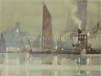 Lot 6-δ GEORGE AYLING (ENGLISH, 1887-1960): The mouth of the Thames at dusk