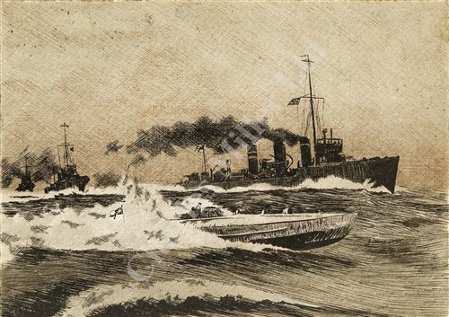 Lot 51-ENGLISH, 20TH CENTURY SCHOOL: H.M.S. Q23 in dazzle camouflage;; with two others