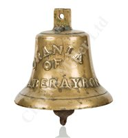 Lot 155 - THE BELL FROM THE WELSH COASTER 'URANIA' OF ABERAYRON, 1857