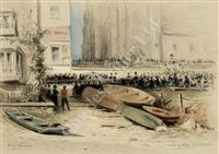 Lot 31-ROBERT TAYLOR PRITCHETT (BRITISH, 1828-1907): The Funeral of Capt. Campbell R.N. of H.M. Yacht 'Victoria & Albert II', 1877