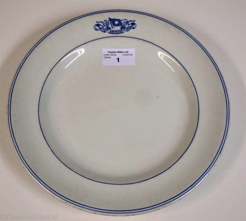 Lot 1-ABERDEEN LINE:  CHINA DINNER PLATE BY DUNN BENNETT & CO. LTD., CIRCA 1910