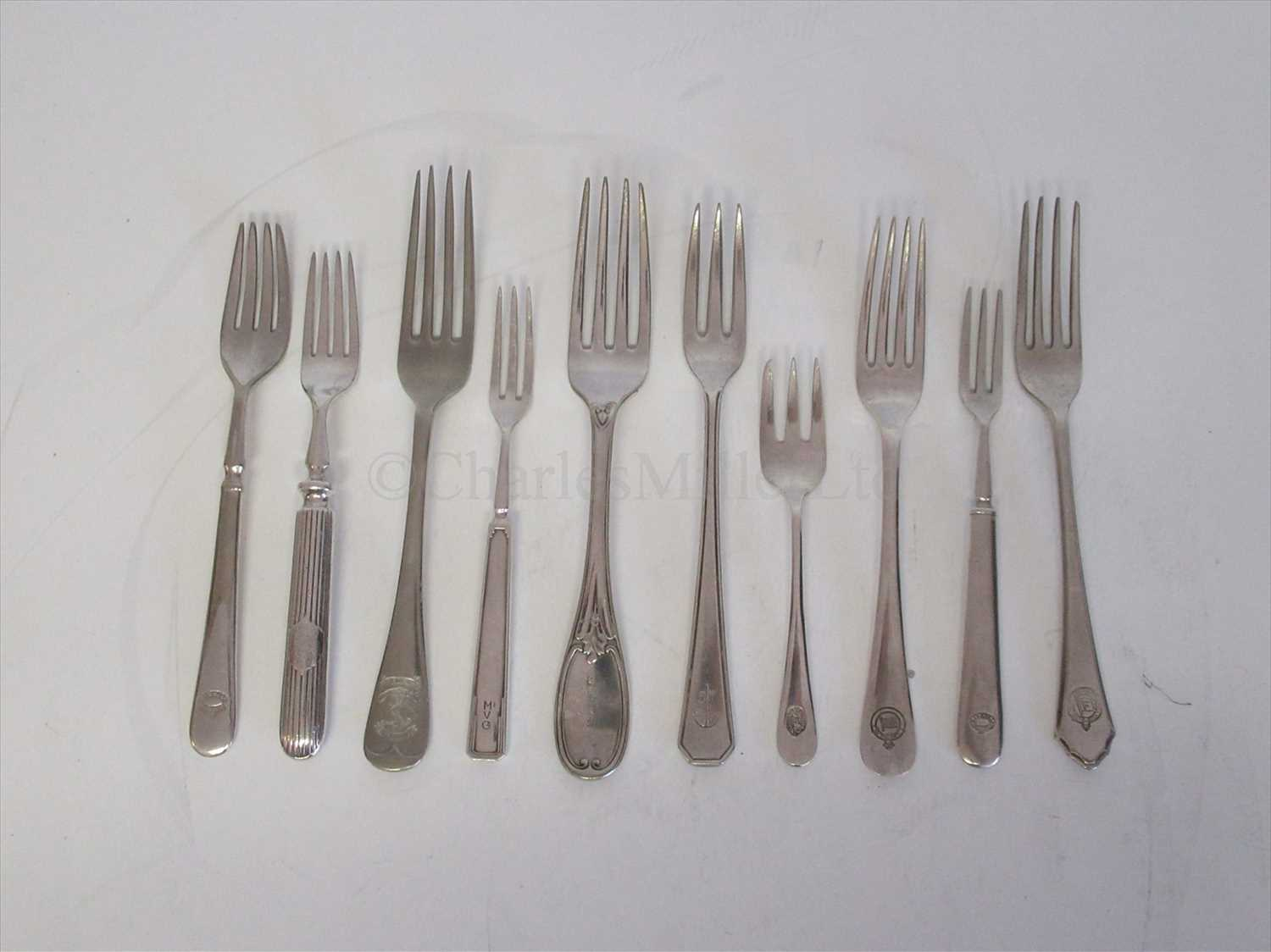 Lot 8-PLATED FLATWARE:  TEN FORKS FROM ASSORTED SHIPPING COMPANIES