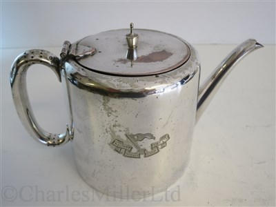 Lot 9-BELFAST STEAM SHIP COMPANY LTD: A PLATED TEA POT BY SHARMAN D. NEILL, BELFAST, CIRCA 1920