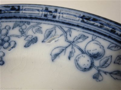 Lot 10 - BIBBY LINE:  AN 'ENFIELD FRUIT' PATTERN CHINA DINNER PLATE, BY MINTON, CIRCA 1906