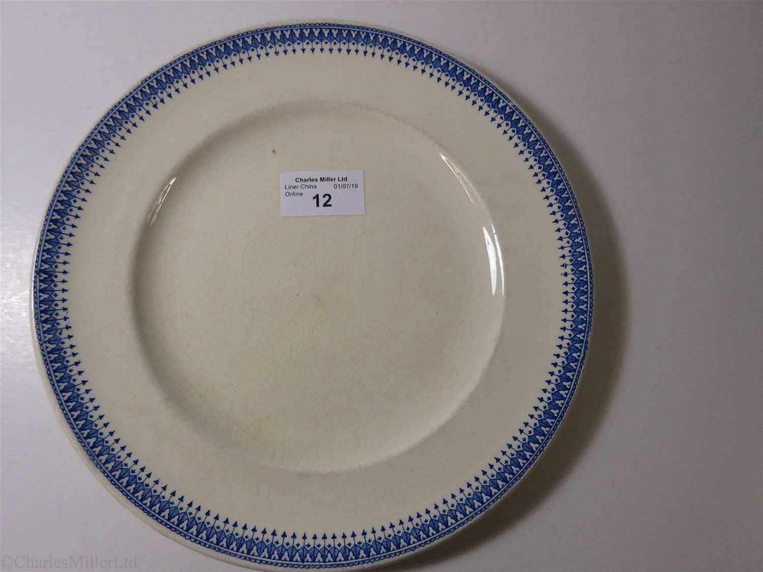 Lot 12-BLUE FUNNEL LINE (ALFRED HOLT & COMPANY):  CHINA DINNER PLATE, BY ASHWORTH BROS., CIRCA 1900