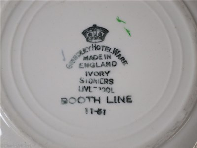 Lot 13-BOOTH LINE:  CHINA SOUP PLATE BY GRINDLEY HOTEL WARE, CIRCA 1925