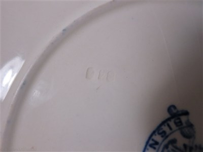 Lot 19-BRITISH INDIA STEAM NAVIGATION COMPANY: 'BLUE FLOWER' PATTERN PLATE, CIRCA 1955