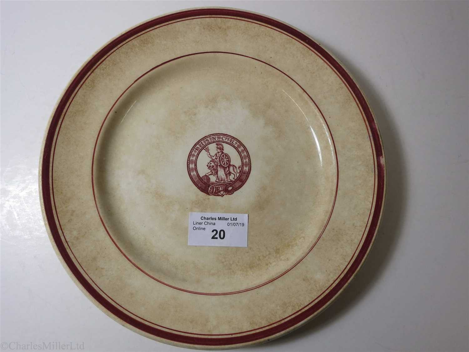 Lot 20-BRITISH INDIA STEAM NAVIGATION COMPANY: AN IRONSTONE DINNER PLATE BY A.J. WILKINSON LTD. ENGLAND, CIRCA 1920