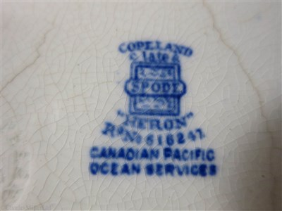 Lot 23-CANADIAN PACIFIC OCEAN SERVICES: 'HERON' PATTERN SQUARE PLATE BY COPELAND, ENGLAND, CIRCA 1913