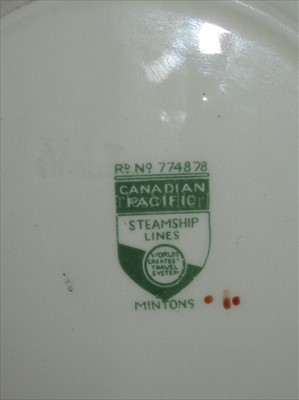 Lot 27-CANADIAN PACIFIC STEAMSHIP LINES: 'EMPRESS' PATTERN CHINA BOWL BY MINTON, ENGLAND